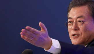 South Korean President Moon Jae-in's North Korea detente policy has sharply divided political parties. Conservatives say Mr. Moon failed to focus on the dangers posed by the North's weapons. (Associated Press)