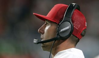 San Francisco 49ers head coach Kyle Shanahan watches from the sideline during the first half of the NFL Super Bowl 54 football game against the Kansas City Chiefs Sunday, Feb. 2, 2020, in Miami Gardens, Fla. (AP Photo/Matt York) ** FILE **