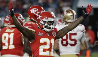 Kansas City Chiefs' Bashaud Breeland (21) reacts against the San Francisco 49ers during the first half of the NFL Super Bowl 54 football game Sunday, Feb. 2, 2020, in Miami Gardens, Fla. (AP Photo/Seth Wenig)  **FILE**
