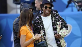 Entertainer Jay-Z arrives for the NFL Super Bowl 54 football game between the San Francisco 49ers and the Kansas City Chiefs, Sunday, Feb. 2, 2020, in Miami. (AP Photo/David J. Phillip)
