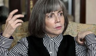"""FILE - In this Oct. 26, 2005 file photo, author Anne Rice talks about her new book during an interview at her home in La Jolla, Calif. Tulane University has acquired the complete archives of famed author, Anne Rice, who was born and raised in New Orleans and whose books including """"Interview with a Vampire,"""" often drew inspiration from her home town. The collection was a gift from Stuart Rose and the Stuart Rose Family Foundation to the university's Howard-Tilton Memorial Library, the university said in a statement. (AP Photo/Lenny Ignelzi)"""