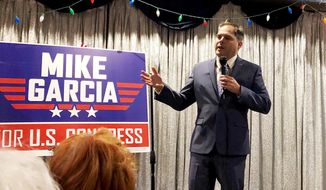 In this Tuesday, Jan. 28, 2020, photo, 25th Congressional District candidate and former Navy combat pilot Mike Garcia addresses supporters in Simi Valley, Calif. (AP Photo/Michael Blood) ** FILE **