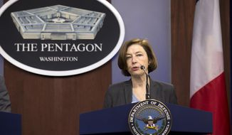 French Minister of Armed Forces Florence Parly speaks during a news conference at the Pentagon in Washington, Monday, Jan. 27, 2020, with Secretary of Defense Mark Esper. (AP Photo/Jose Luis Magana)