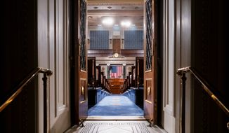 The chamber of the House of Representatives is seen at the Capitol in Washington, Monday, Feb. 3, 2020, as it is prepared for President Donald Trump to give his State of the Union address Tuesday night. (AP Photo/J. Scott Applewhite) (Associated Press)
