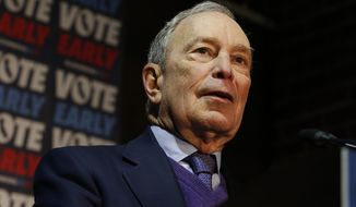 Democratic presidential candidate and former New York City Mayor Michael Bloomberg addresses supporters during a campaign stop in Sacramento, Calif., Monday, Feb. 3, 2020. . (AP Photo/Rich Pedroncelli)