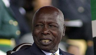 This October 2002, file photo, shows former Kenya's President Daniel arap Moi. Moi, a former schoolteacher who became Kenya's longest-serving president and presided over years of repression and economic turmoil fueled by runaway corruption, has died. He was 95. (AP Photo/Sayyid Azim, File)