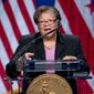 At-large Council member Anita Bonds, speaks during the 2015 District of Columbia Inauguration ceremony at the Convention Center in Washington, Friday, Jan. 2, 2015. (AP Photo/Carolyn Kaster) ** FILE **