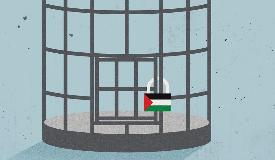 Illustration on the newest Middle East peace plan by Linas Garsys/The Washington Times