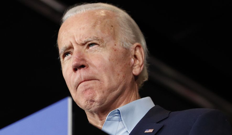 Democratic presidential candidate former Vice President Joe Biden speaks at a caucus night campaign rally on Monday, Feb. 3, 2020, in Des Moines, Iowa. (AP Photo/John Locher)
