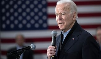 Democratic presidential candidate former Vice President Joe Biden speaks during a campaign rally, Tuesday, Feb. 4, 2020, in Nashua, N.H. (AP Photo/Mary Altaffer)