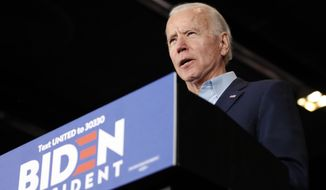 Democratic presidential candidate former Vice President Joe Biden speaks at a caucus night campaign rally on Monday, Feb. 3, 2020, in Des Moines, Iowa. (AP Photo/John Locher) **FILE**