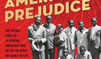 "This cover image released by Atria shows ""Olympic Pride, American Prejudice: The Untold Story of 18 African Americans Who Defied Jim Crow and Adolf Hitler to Compete in the 1936 Berlin Olympics"" by Deborah Riley Draper, Blair Underwood and Travis Thrasher  (Atria via AP)"