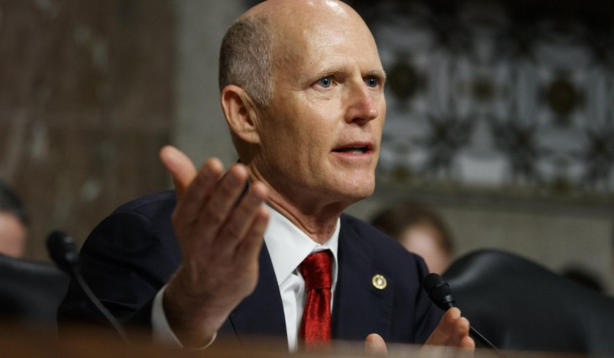 In this Feb. 29, 2019, file photo, Senate Armed Services Committee member Sen. Rick Scott, R-Fla. speaks during a hearing on Capitol Hill in Washington. (AP Photo/Carolyn Kaster, File)
