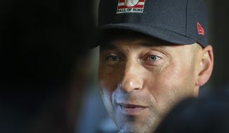 New York Yankees shortstop Derek Jeter speaks during the Baseball Hall of Fame press conference, Wednesday Jan. 22, 2020, in New York. Jeter and Colorado Rockies outfielder Larry Walker will both join the 2020 Hall of Fame class. (AP Photo/Bebeto Matthews)