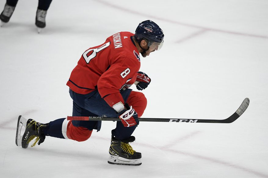 Washington Capitals left wing Alex Ovechkin celebrates his goal during the third period of the team's NHL hockey game against the Los Angeles Kings, Tuesday, Feb. 4, 2020, in Washington. The Capitals won 4-2. (AP Photo/Nick Wass) ** FILE **