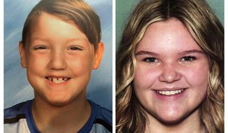 """This combination photo of undated file photos released by National Center for Missing & Exploited Children show missing children Joshua """"JJ"""" Vallow, 7, left, and Tylee Ryan, 17. As authorities in Idaho continue to plead with the public for any information about the two kids missing for five months, experts say a potential criminal case against the mother, Lori Vallow, could be bolstered if she fails to meet a court-ordered deadline to produce the children. Joshua Vallow and Tylee Ryan haven't been seen since late September, and police in Rexburg, Idaho have said they """"strongly believe that Joshua and Tylee's lives are in danger. Lori Vallow, who has recently been living in Hawaii, was given a court order earlier this week directing her to bring the kids to an Idaho Department of Health and Welfare office by 5pm Thursday. (National Center for Missing & Exploited Children via AP)"""