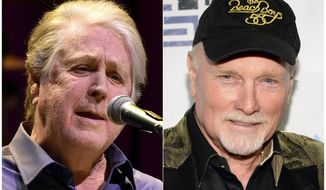 """This combination photo shows Brian Wilson performing at the Rosemont Theatre in Rosemont, Ill, on Oct 6, 2017, left, and  Mike Love at """"Howard Stern's Birthday Bash"""" in New York on Jan. 31, 2014. Wilson, a  co-founder of The Beach Boys, has denounced a performance of Beach Boys music at the Safari Club International Convention in Reno, Nev. The concert is being led by The Beach Boys' co-founder, lead singer and chief lyricist Mike Love. (AP Photo)"""