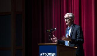 Wisconsin Gov. Tony Evers speaks to Milton High School students Tuesday, Feb. 4, 2020, in Milton, Wis. (Angela Major/The Janesville Gazette via AP)