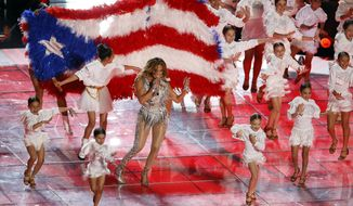 Jennifer Lopez performs during the halftime show at the NFL Super Bowl 54 football game between the San Francisco 49ers and Kansas City Chiefs', Sunday, Feb. 2, 2020, in Miami Gardens, Fla.. (AP Photo/Adam Hunger)