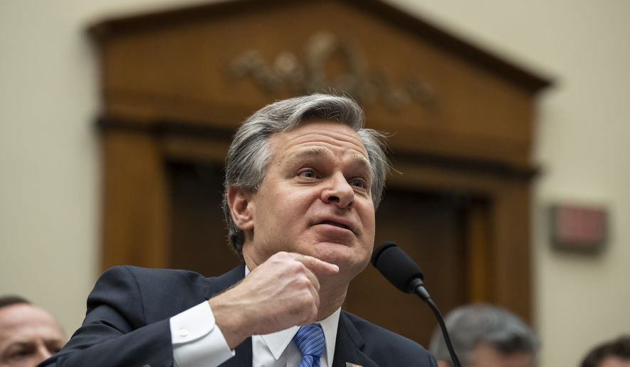 FBI Director Christopher Wray testifies during an oversight hearing of the House Judiciary Committee, on Capitol Hill, Wednesday, Feb. 5, 2020 in Washington. (AP Photo/Alex Brandon) **FILE**