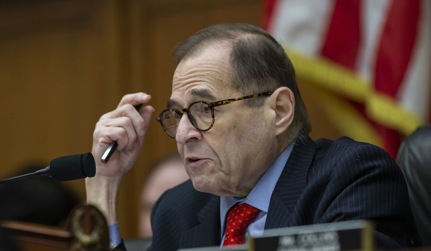 In this file photo, House Judiciary Committee Chairman Jerrold Nadler, of N.Y., questions FBI Director Christopher Wray as he testifies during an oversight hearing of the House Judiciary Committee, on Capitol Hill, Wednesday, Feb. 5, 2020, in Washington. (AP Photo/Alex Brandon)