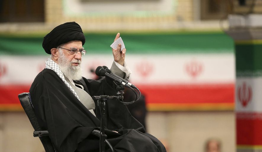 In this photo released by the official website of the office of the Iranian supreme leader, Supreme Leader Ayatollah Ali Khamenei speaks in a meeting in Tehran, Iran, Feb. 5, 2020. (Office of the Iranian Supreme Leader via AP)