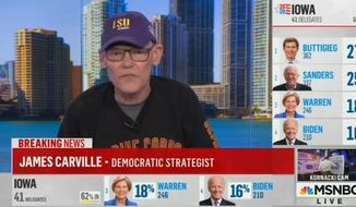 Political commentator James Carville discusses the 2020 election landscape on MSNBC, Feb. 4, 2020. (Image: MSNBC video screenshot)