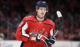 Washington Capitals center Evgeny Kuznetsov (92), of Russia, stands on the ice during the first period of an NHL hockey game against the Los Angeles Kings, Tuesday, Feb. 4, 2020, in Washington. (AP Photo/Nick Wass) ** FILE **