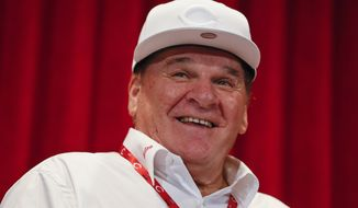 FILE - In this June 17, 2017, file photo, former Cincinnati Reds player Pete Rose attends a news conference during his statue dedication ceremonies before a baseball game between the Reds and the Los Angeles Dodgers in Cincinnati. Rose once again asked Major League Baseball to end his lifetime ban, saying the penalty is unfair compared with discipline for steroids use and electronic sign stealing. Rose's lawyers submitted the application Wednesday, Feb. 5, 2020, to baseball Commissioner Rob Manfred, who in December 2015 denied the previous request by the career hits leader.  (AP Photo/John Minchillo) ** FILE **