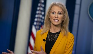 White House counselor Kellyanne Conway talks to reporters in the briefing room of the White House, Wednesday, Feb. 5, 2020, in Washington. (AP Photo/ Evan Vucci)