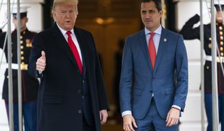 President Donald Trump welcomes Venezuelan opposition leader Juan Guaido to the White House, Wednesday, Feb. 5, 2020, in Washington. (AP Photo/ Evan Vucci)