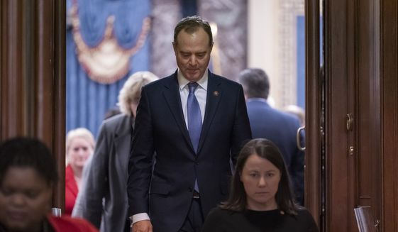 House Democratic impeachment manager, Intelligence Committee Chairman Adam Schiff, D-Calif., leaves the Senate chamber after the acquittal of President Donald Trump on charges of abuse of power and obstruction of Congress, at the Capitol in Washington, Wednesday, Feb. 5, 2020. (AP Photo/J. Scott Applewhite) **FILE**