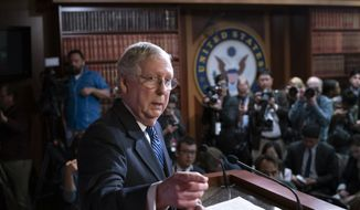 Senate Majority Leader Mitch McConnell, R-Ky., holds a news conference after leading the impeachment acquittal of President Donald Trump, at the Capitol in Washington, Wednesday, Feb. 5, 2020. (AP Photo/J. Scott Applewhite)