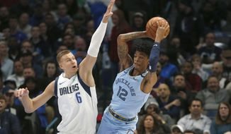 Dallas Mavericks forward Kristaps Porzingis (6) goes up to stop Memphis Grizzlies guard Ja Morant (12) from making a pass during the first half of an NBA basketball game Wednesday, Feb. 5, 2020, in Dallas. (AP Photo/Ron Jenkins)
