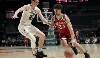 North Carolina State guard Devon Daniels (24) drives to the basket as Miami forward Sam Waardenburg (21) defends during the first half of an NCAA college basketball game, Wednesday, Feb. 5, 2020, in Coral Gables, Fla. (AP Photo/Lynne Sladky)