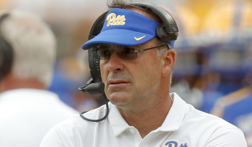 FILE - In this Sept. 7, 2019, file photo, Pittsburgh head coach Pat Narduzzi works the sideline during an NCAA college football game against Ohio in Pittsburgh. Narduzzi has no plans to head back to Michigan State, shooting down speculation he is interested in coaching the Spartans following longtime Michigan State coach Mark Dantonio's retirement. (AP Photo/Keith Srakocic, File)
