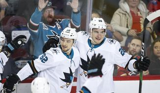 San Jose Sharks' Kevin Labanc, left, celebrates his goal with Timo Meier during the third period of the team's NHL hockey game against the Calgary Flames on Tuesday, Feb. 4, 2020, in Calgary, Alberta. (Jeff McIntosh/The Canadian Press via AP)