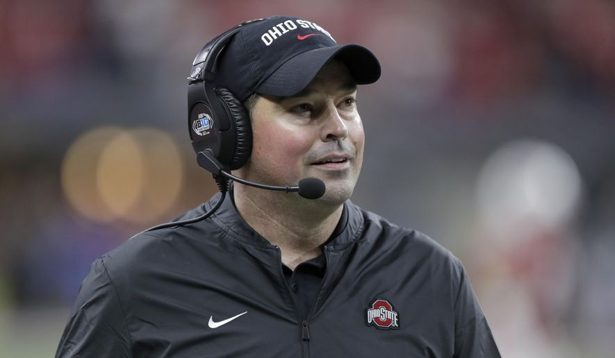 In this Dec. 7, 2019, file photo, Ohio State head coach Ryan Day watches during the second half of the Big Ten championship NCAA college football game against Wisconsin in Indianapolis. Ohio State is back on top in Big Ten recruiting, with Day wrapping up his first full signing class on Wednesday, Feb. 5, 2020. (AP Photo/Michael Conroy, File  **FILE**