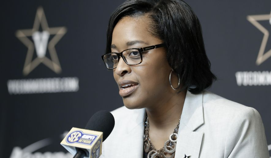 Vanderbilt interim athletic director Candice Lee answers questions during a news conference Wednesday, Feb. 5, 2020, in Nashville, Tenn. Former athletic director Malcolm Turner resigned Tuesday, Feb. 4, after one year at the school. (AP Photo/Mark Humphrey)