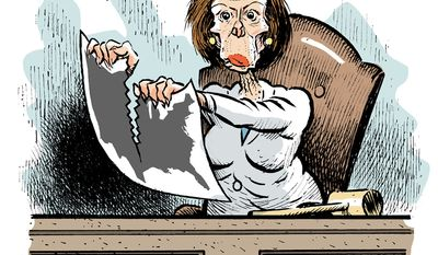 Nancy Pelosi on a tear  (Illustration by Alexander Hunter for The Washington Times)