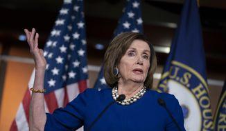 Speaker of the House Nancy Pelosi, D-Calif., holds a news conference the morning after the impeachment of President Donald Trump ended in acquittal, at the Capitol in Washington, Thursday, Feb. 6, 2020. (AP Photo/J. Scott Applewhite) ** FILE **