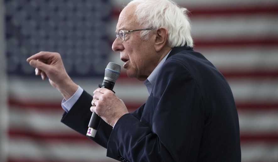 Democratic presidential candidate Sen. Bernie Sanders, I-Vt., speaks during a campaign rally, Tuesday, Feb. 4, 2020, in Milford, N.H. (AP Photo/Mary Altaffer)