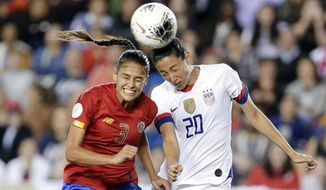 Costa Rica defender Maria Coto (3) and United States forward Christen Press (20) both go for a header during the second half of a Concacaf women's Olympic qualifying soccer match Monday, Feb. 3, 2020, in Houston. (AP Photo/Michael Wyke)