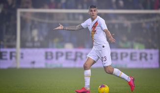 Roma's Gianluca Mancini gestures during a Serie A soccer match between Roma and Sassuolo, in Reggio Emilia, Italy, Saturday, Feb. 1, 2020. (Fabio Rossi/LaPresse via AP)
