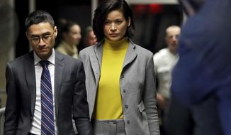 FILE - In this Wednesday, Jan. 29, 2020 file photo, witness Tarale Wulff, center, leaves the Harvey Weinstein rape trial during a lunch break, in New York. (AP Photo/Richard Drew)