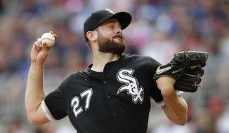 FILE - In this Sept. 1, 2019, file photo, Chicago White Sox starting pitcher Lucas Giolito works in the first inning of the team's baseball game against the Atlanta Braves in Atlanta. Giolito is the ace of the rotation after he went 14-9 with a 3.41 ERA in 29 starts last year, tying for the major league lead with two shutouts and three complete games. (AP Photo/John Bazemore, File)