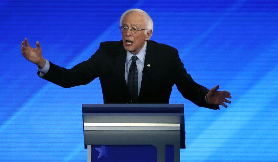 Democratic presidential candidate Sen. Bernie Sanders, I-Vt., speaks during a Democratic presidential primary debate, Friday, Feb. 7, 2020, hosted by ABC News, Apple News, and WMUR-TV at Saint Anselm College in Manchester, N.H. (AP Photo/Elise Amendola)