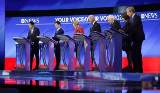 From left, Democratic presidential candidates entrepreneur Andrew Yang, former South Bend Mayor Pete Buttigieg, Sen. Bernie Sanders, I-Vt., former Vice President Joe Biden, Sen. Elizabeth Warren, D-Mass., Sen. Amy Klobuchar, D-Minn., and businessman Tom Steyer stand on stage Friday, Feb. 7, 2020, before the start of a Democratic presidential primary debate hosted by ABC News, Apple News, and WMUR-TV at Saint Anselm College in Manchester, N.H. (AP Photo/Charles Krupa)