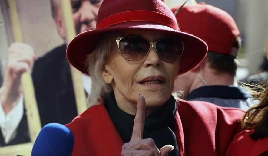 Two-time Oscar winner Jane Fonda, 82, leads her Fire Drill Fridays rally, calling for action to address climate change at Los Angeles City Hall Friday, Feb. 7, 2020. A half-century after throwing her attention-getting celebrity status into Vietnam War protests, Fonda is now doing the same in a U.S. climate movement where the average age is 18. (AP Photo/Damian Dovarganes)