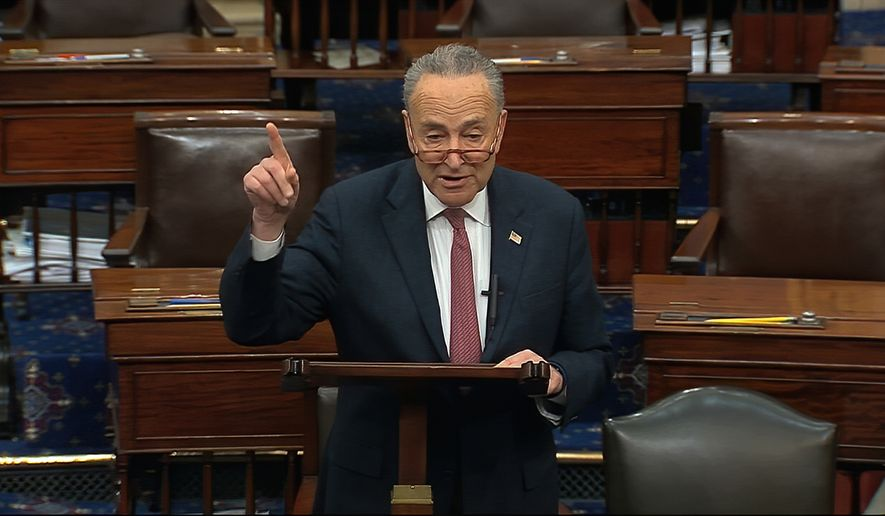 In this image from video, Senate Minority Leader Chuck Schumer, D-N.Y., speaks on the Senate floor about the impeachment trial against President Donald Trump at the U.S. Capitol in Washington, Tuesday, Feb. 4, 2020. The Senate will vote on the Articles of Impeachment on Wednesday afternoon, Feb. 5. (Senate Television via AP)